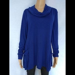 Cato blue blouse, long Sleeve Cowl Neck size L